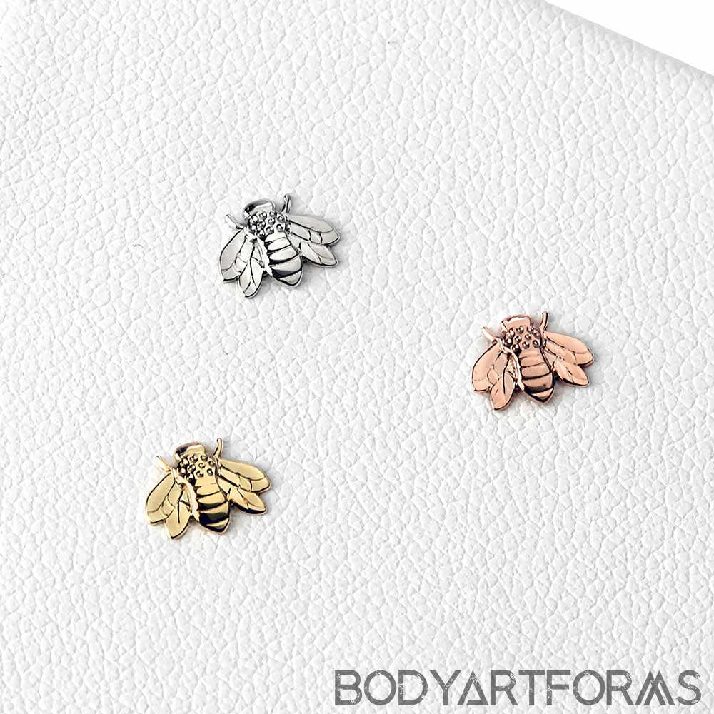 14K Gold Flying Bee Threadless Ends