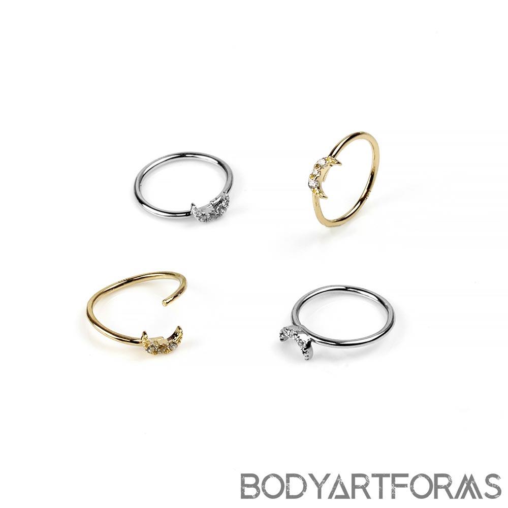 14k Gold Side-Set Gemmed Moon Seamless Ring