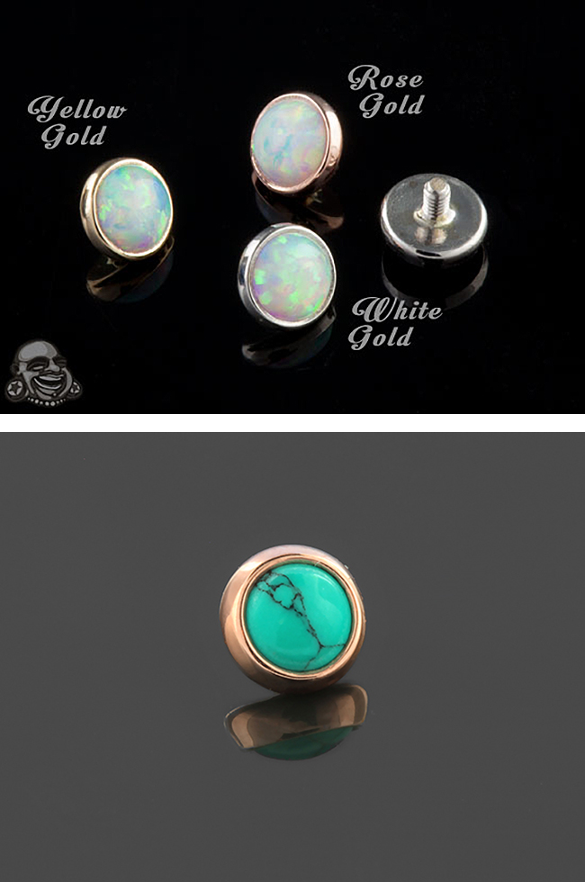 14k Gold Super Flat Cabochon Threaded End