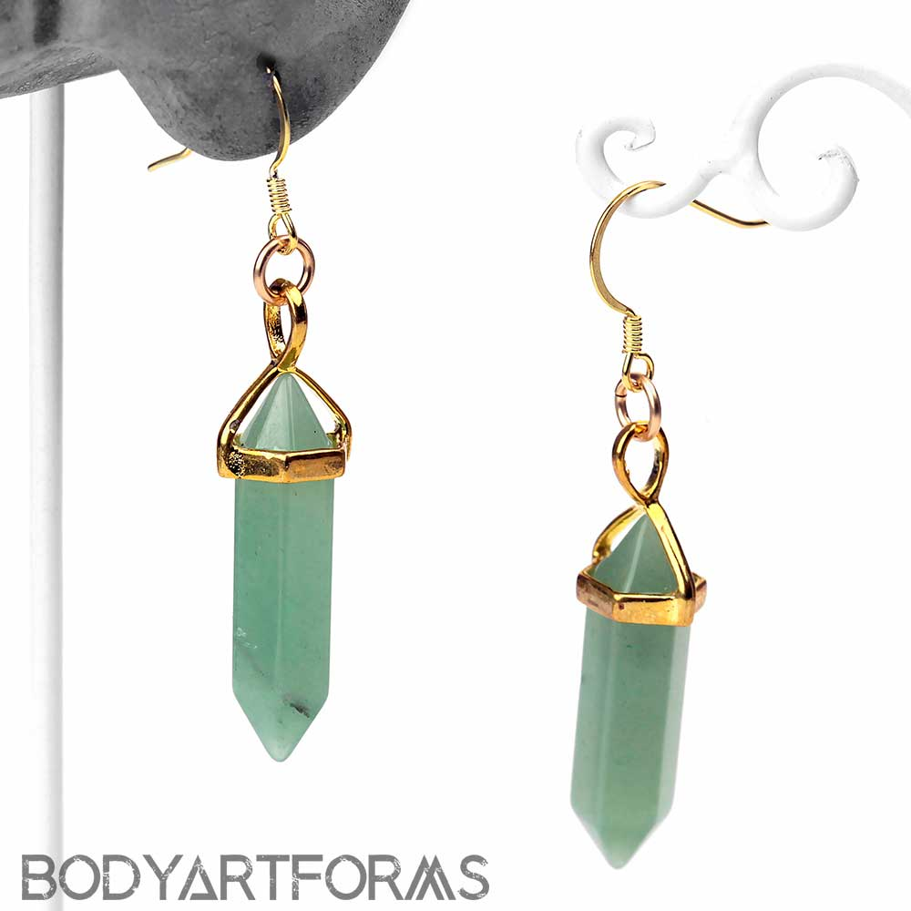 Gold Plated Aventurine Point Earring