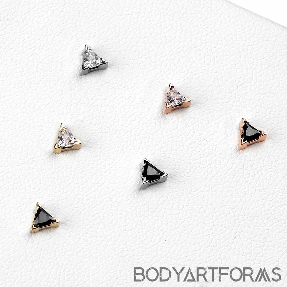 14K Gold Triangle Prong Set Gem Threadless End