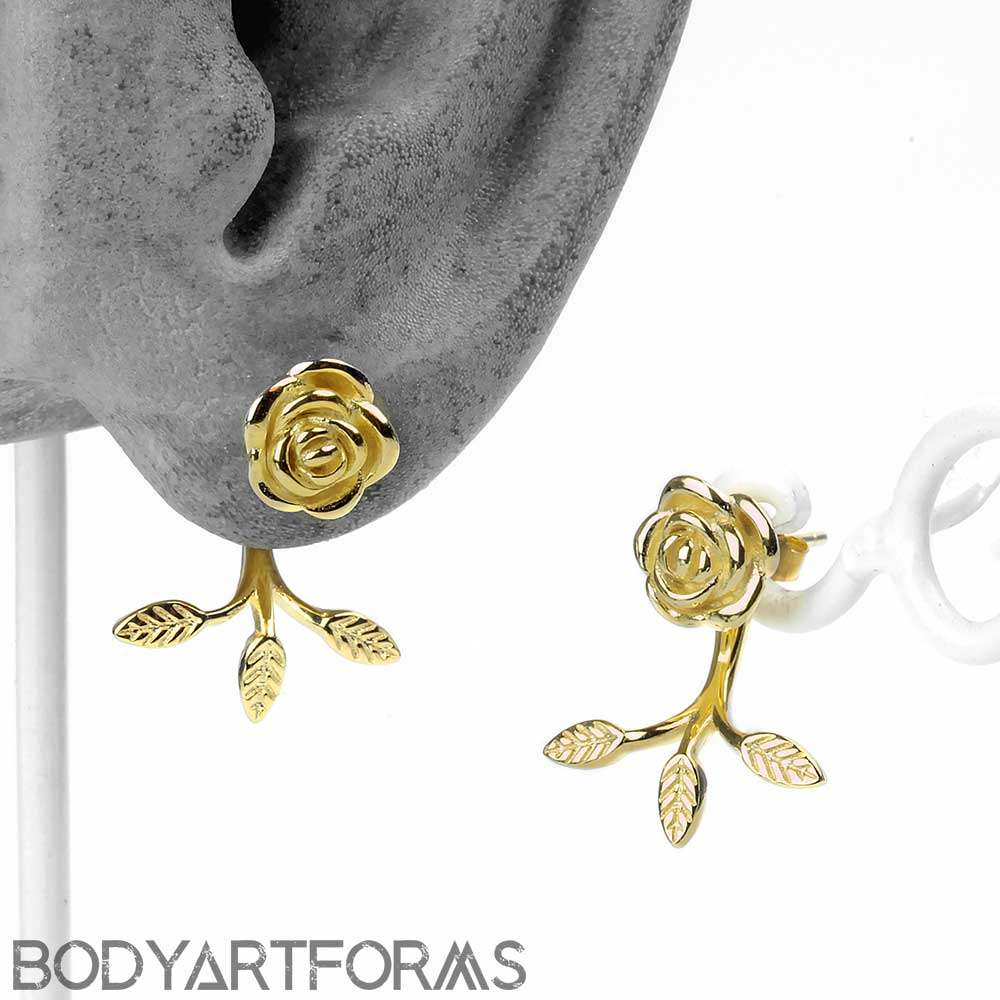 Golden Rose Stud Earrings with Leaf Jacket