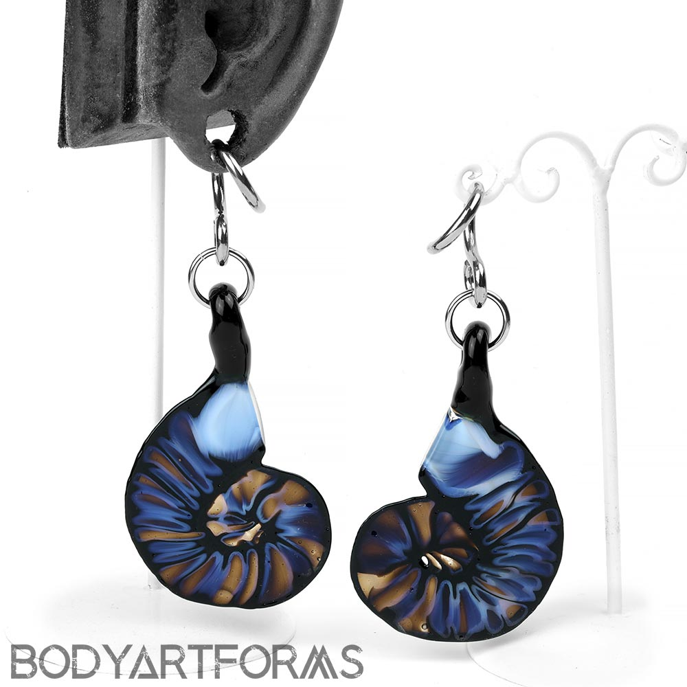 Glass Ammonite Weights - Sky Blue