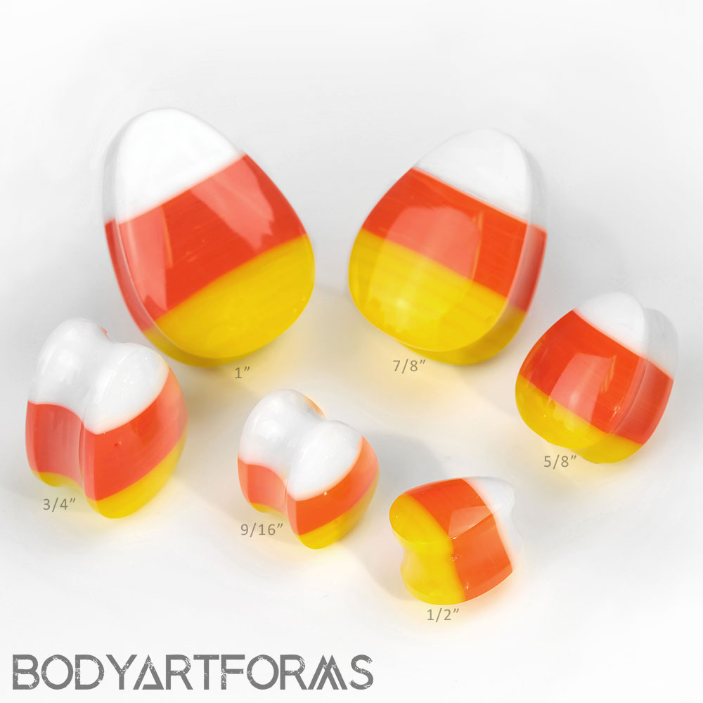 Glass Candycorn Plugs