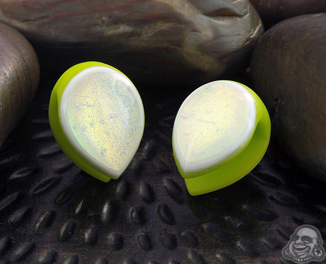 Glass Dichroic Shield Weights (Green with Gold/Emerald)