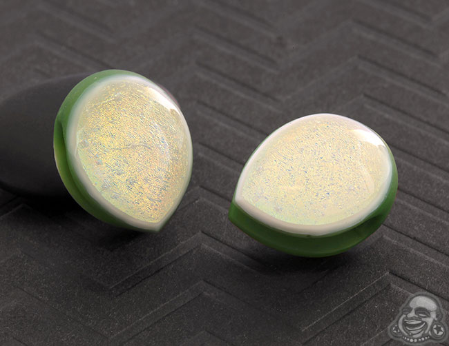 Glass Dichroic Shield Weights (Olive with Pink/Gold)