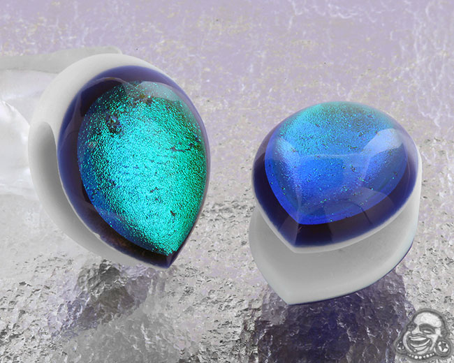 Glass Dichroic Shield Weights (White with Blue/Purple)