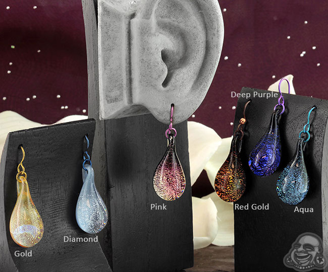 Glass Dichroic Teardrop Earrings