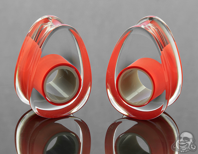 Glass Lifesaver Teardrop Plugs (Red with Gray Center)
