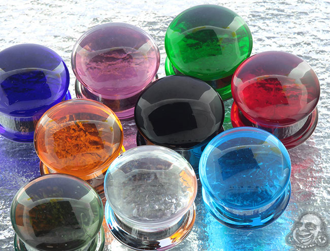 Glass Double Flare Solid Color Plugs