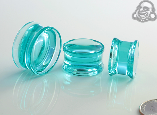 Glass Solid Color Concave Plugs (Turquoise)