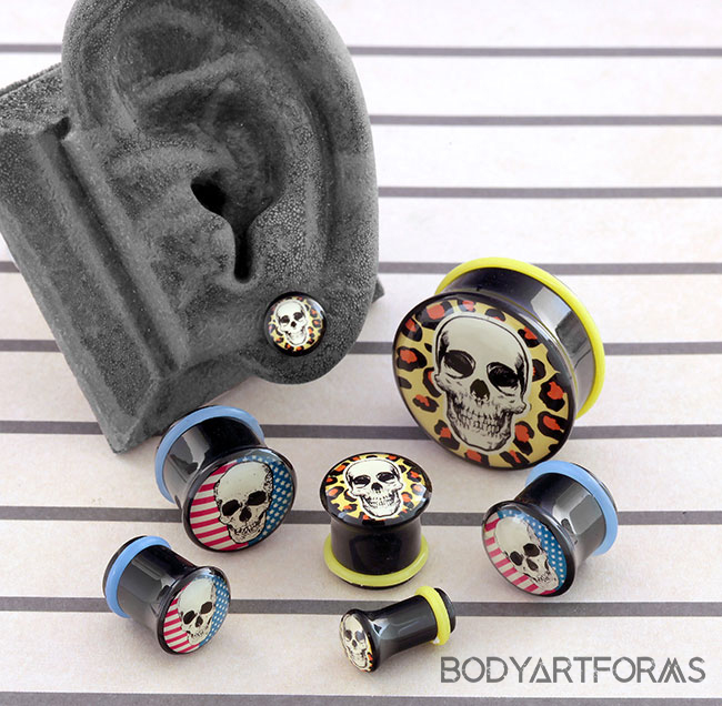 Single Flare Skull Image Plugs