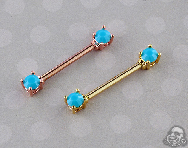Synthetic Turquoise Nipple Barbell