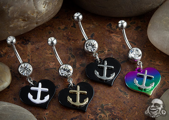 Heart and Anchor Dangle Navel
