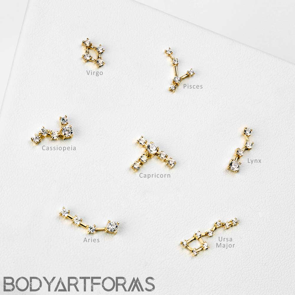 14K Gold Constellation Threadless End