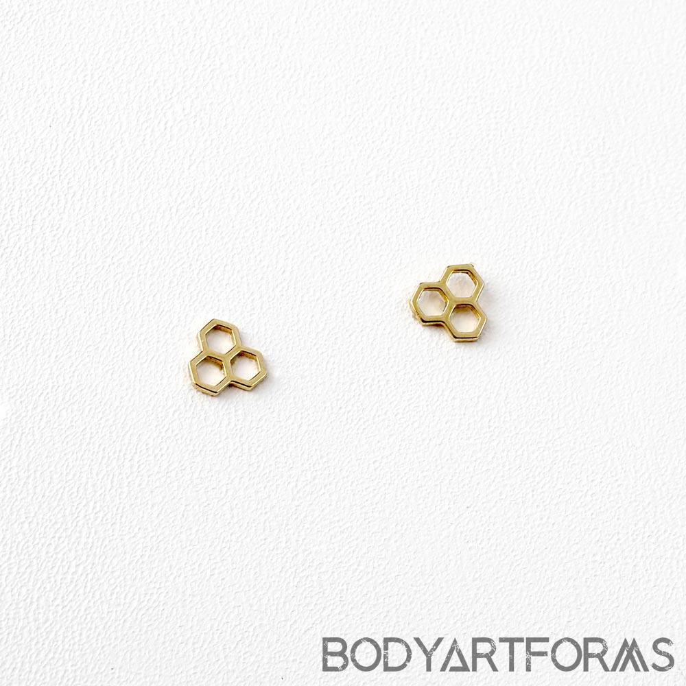 14K Gold Honeycomb Threadless End