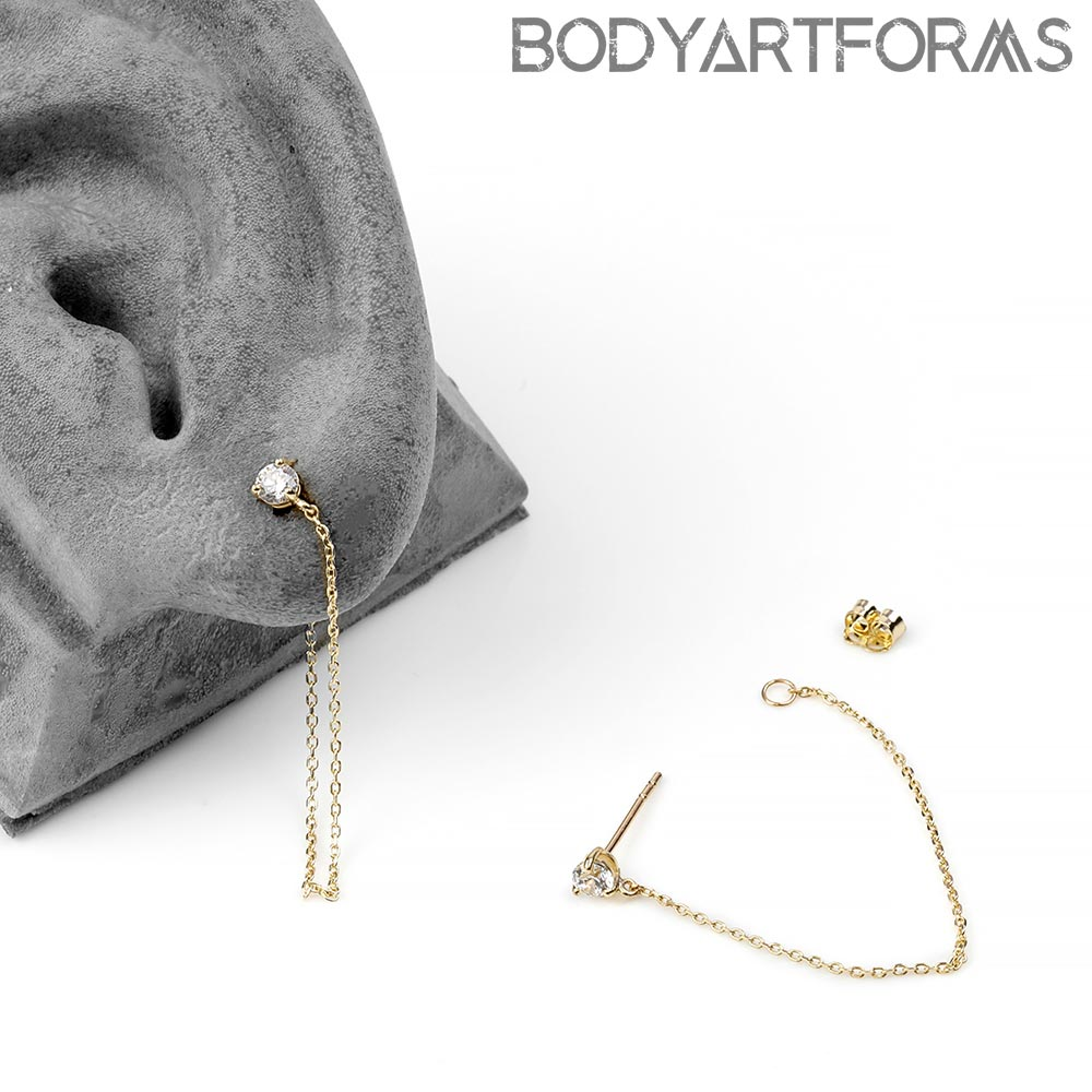 14K Gold Prong Set Gemmed Earring with Chain