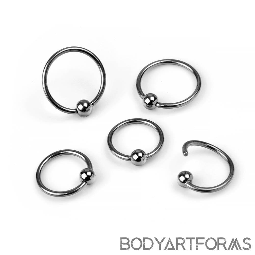 Niobium Fixed Bead Ring With A Titanium Ball