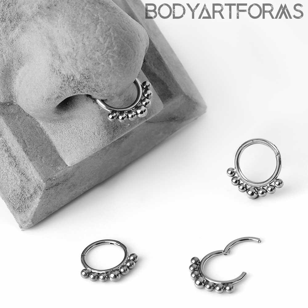 Titanium 7 Bead Clicker Ring