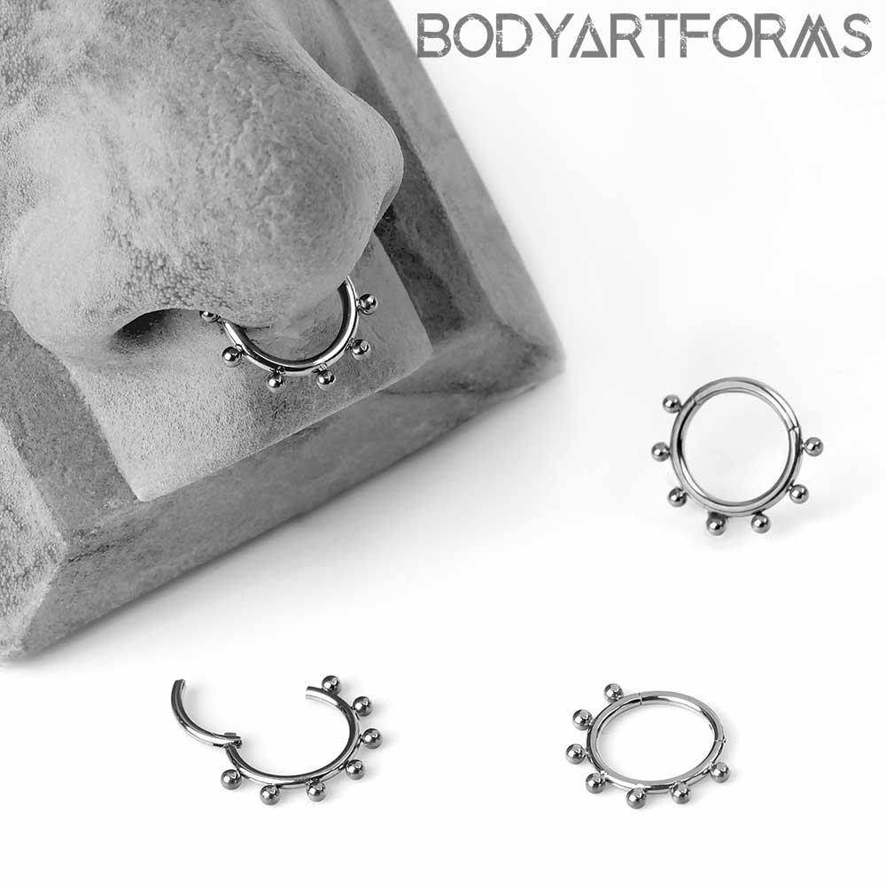 Titanium 7 Spaced Bead Clicker Ring