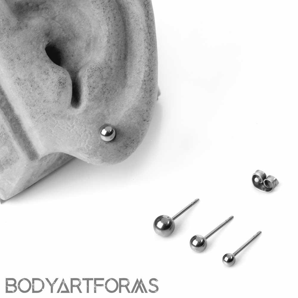 Titanium Ball Front Earrings