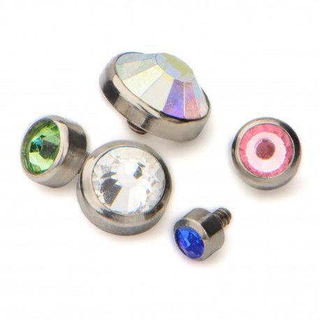 PRE-ORDER Titanium Bezel Set Jeweled Discs Threaded Ends