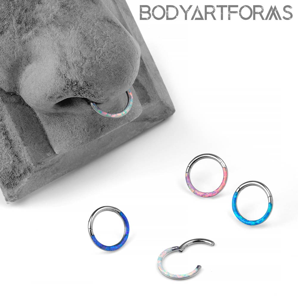 Titanium Clicker With Front Facing Synthetic Opal Inlay