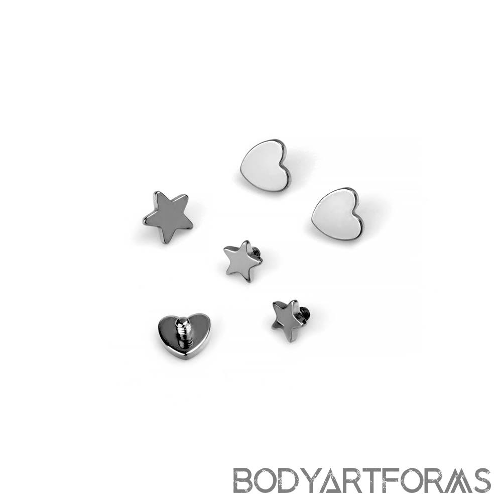 Titanium Internally Threaded Heart and Star Ends