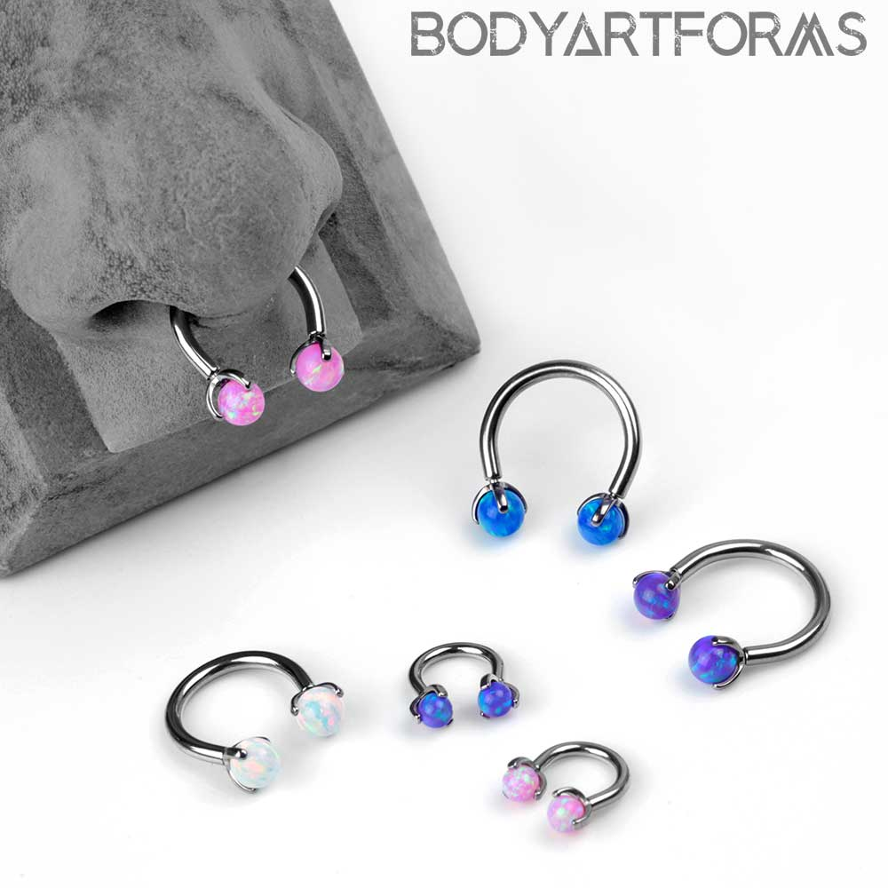Titanium Circular Barbell with Three Prong Set Opal Balls