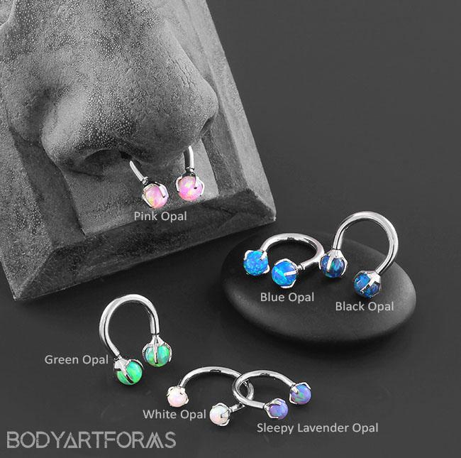 Titanium Circular Barbell with Prong Set Opals