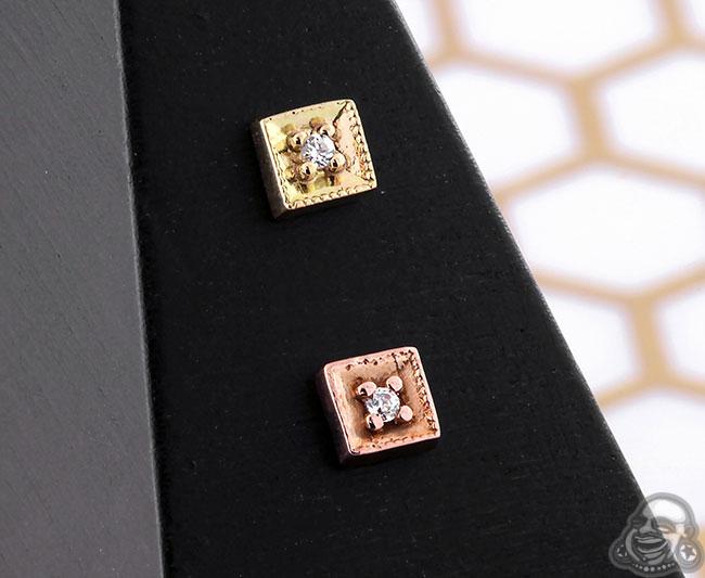 14K Gold Diamond Milligrain Threadless Ends