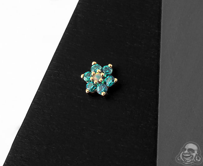 14k Gold Flower Threadless End