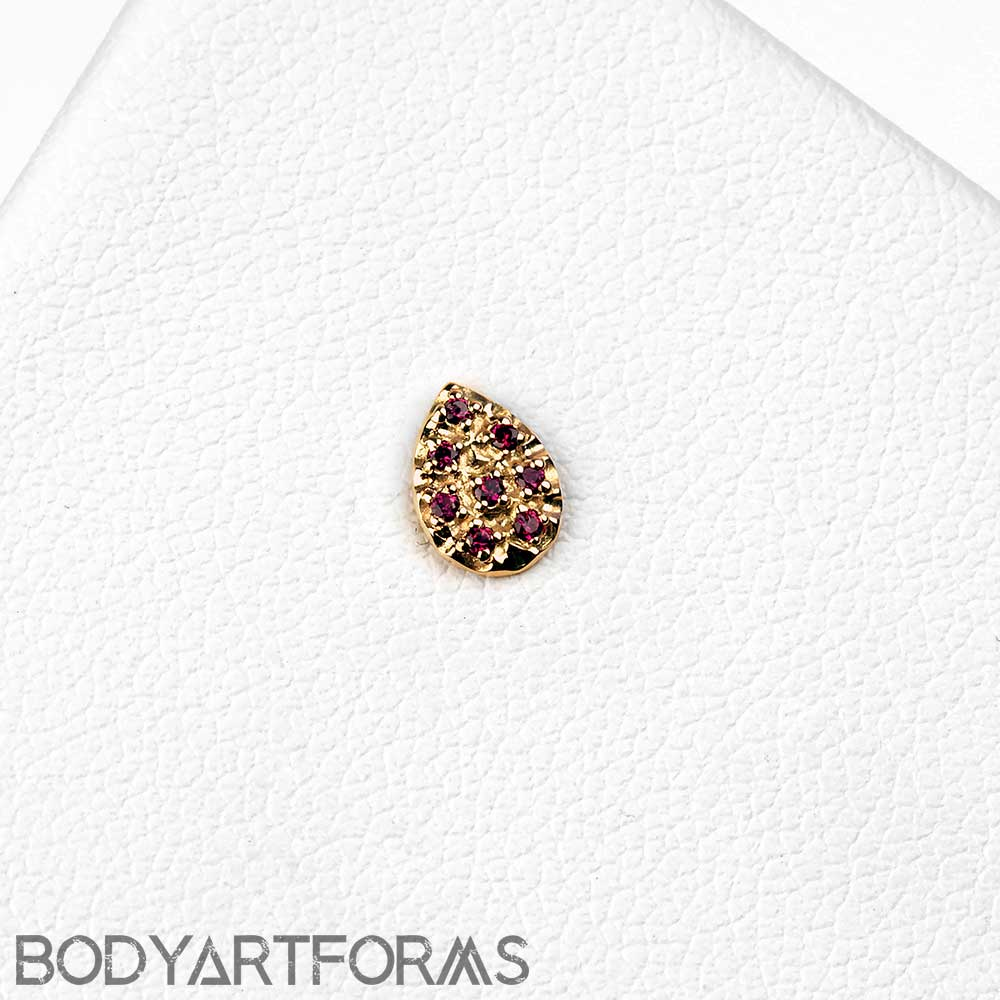 Threadless 14k Gold Pave Pear End