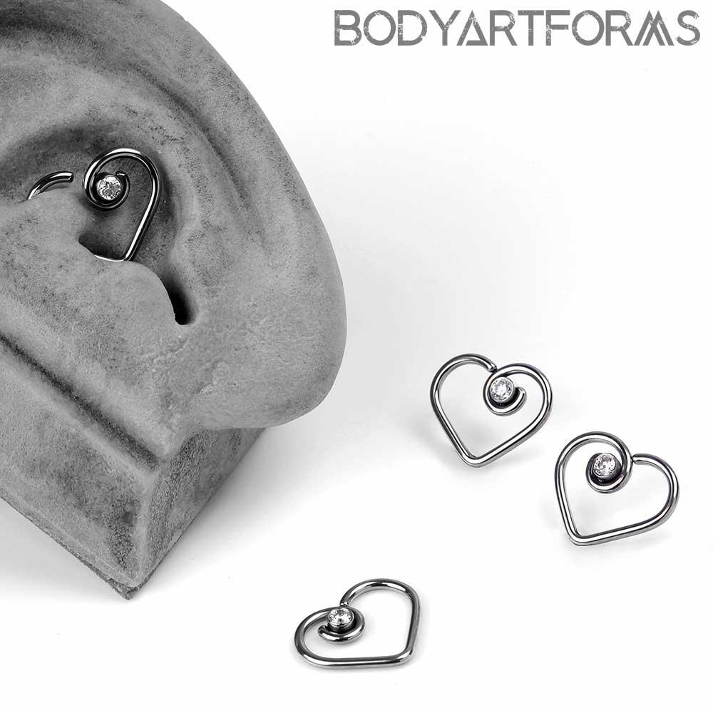 Niobium Gemmed Divine Heart Seamless Ring