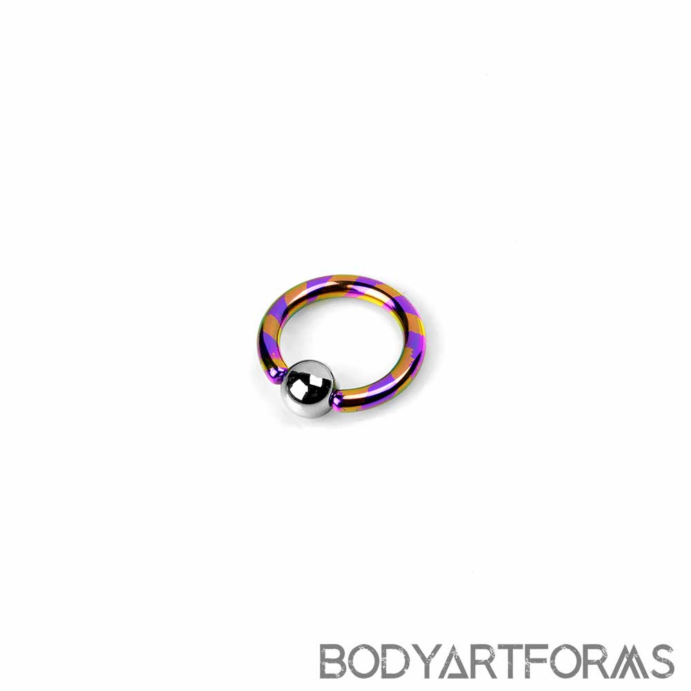 PRE-ORDER Titanium Candy Stripe Captive Ring with Steel Bead