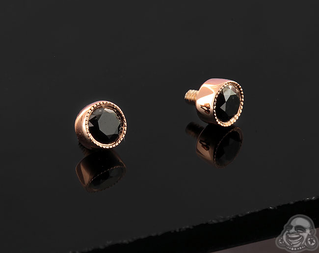14k Gold Scalloped Bezel Set Threaded End
