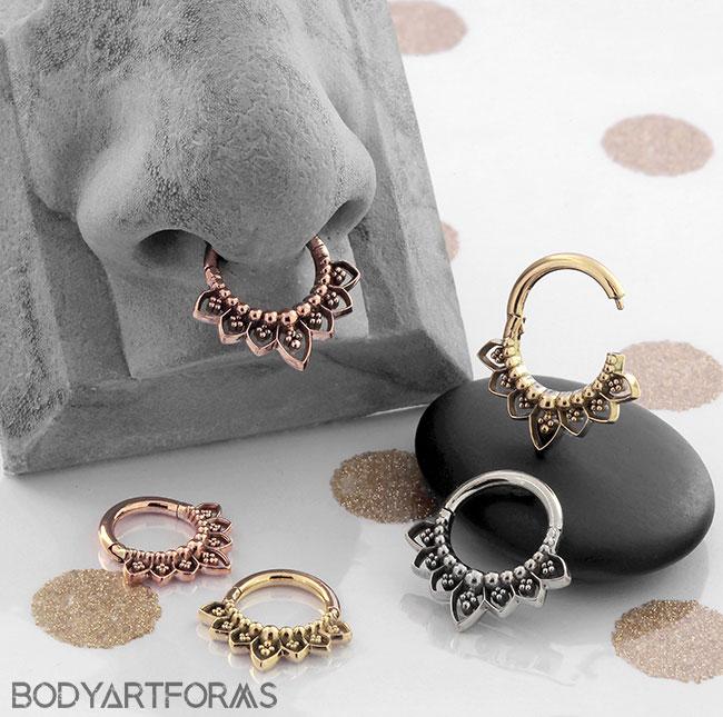 Solid 14k Gold Indigo Septum Clicker Nose Ring By Maya