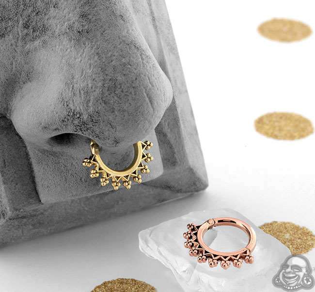 Gold Monarch Septum Clicker Ring
