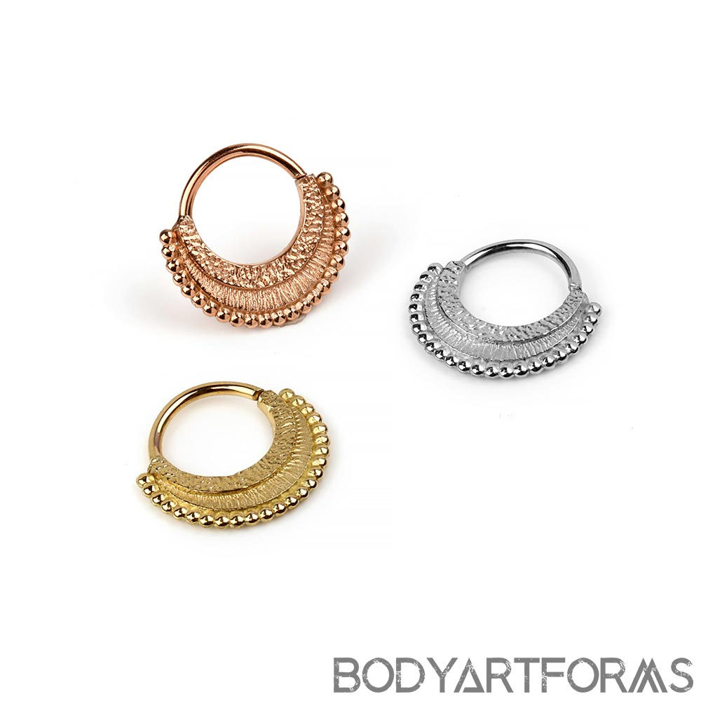 Gold War Horse Septum Seamless Ring