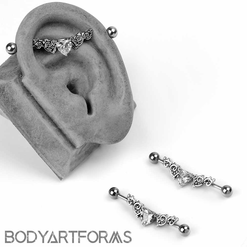 Filigree Heart Barbell Set