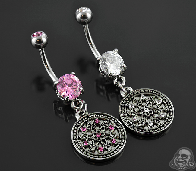 Gemmed Navel with Circle Bloom Dangle