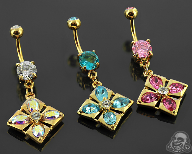 Gold Colored Gemmed Navel with Square Dangle