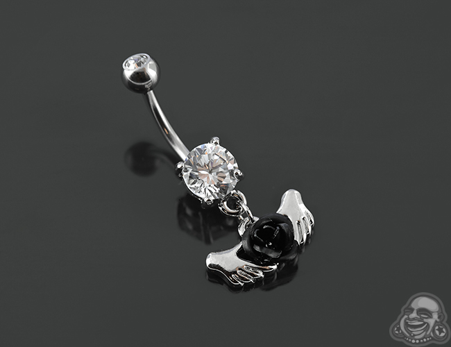 Hands Holding A Rose Dangle Navel