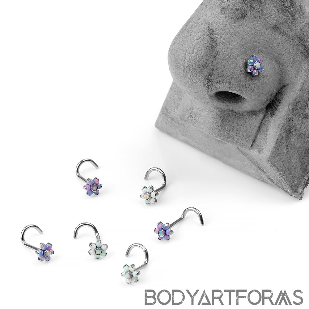 Steel and Synthetic Opal Flower Nosescrew