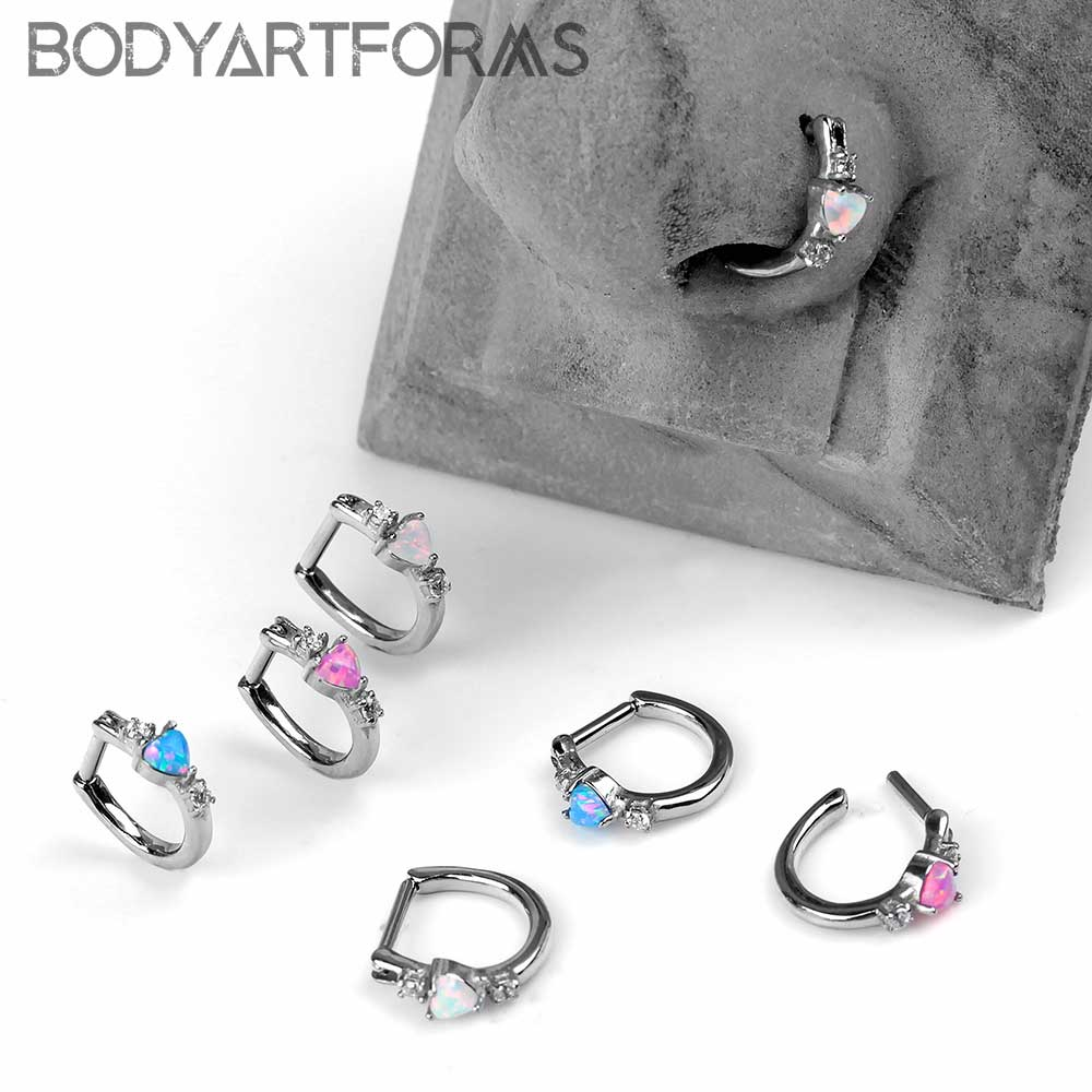 Side Set Opal Heart Clicker Ring