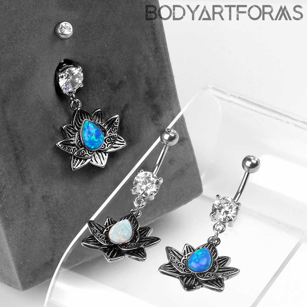 Opal Lotus Dangle Navel