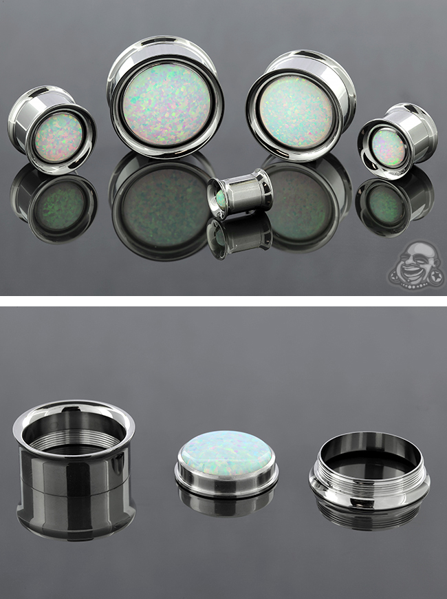 Steel Eyelet with White Opal Inlays