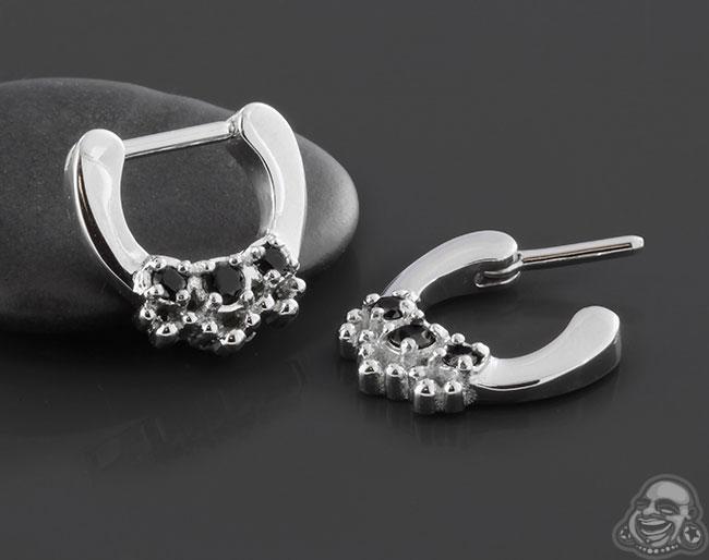 Ornate Triple Jewel Septum Clicker