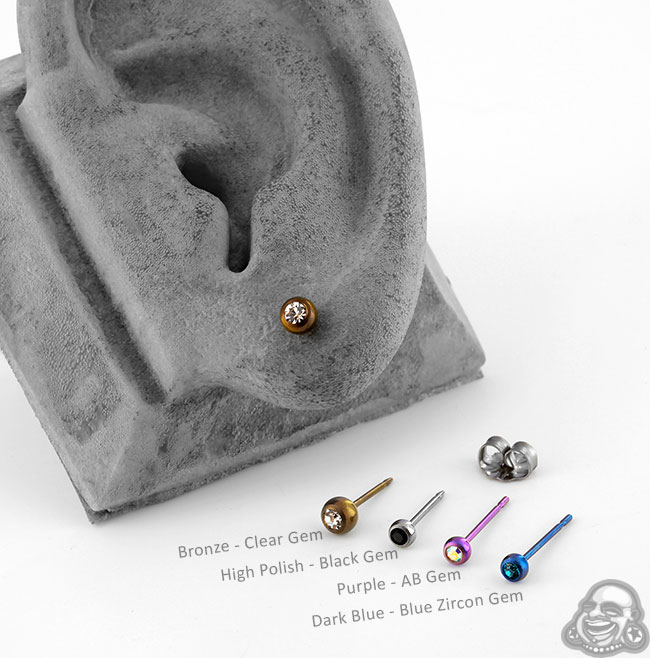 Anodized Titanium Gem Stud Earrings