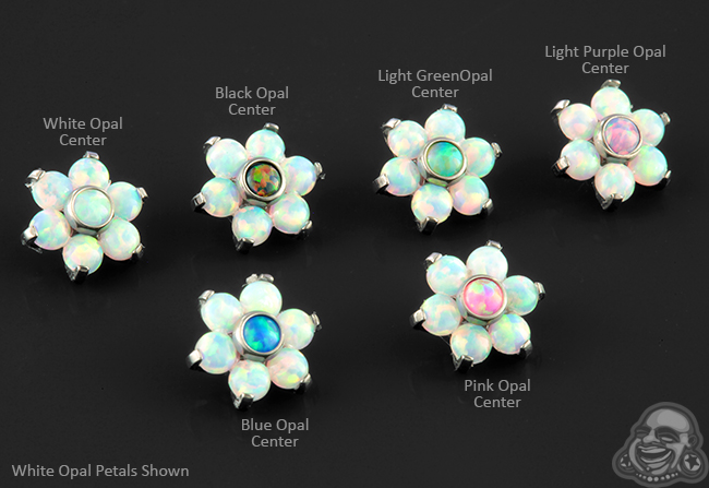 Titanium Internally Threaded Opal Flower End